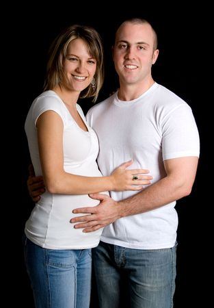 woman and man in white looking at camera Stock Photo - 717291
