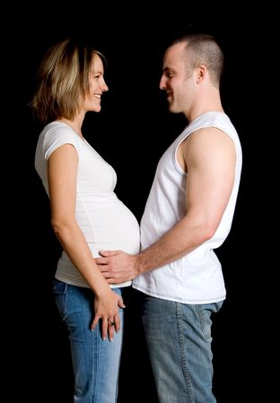 expecting pair man and woman on a black background Stock Photo - 717288