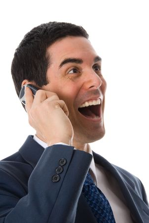 happy man on the phone on white background photo