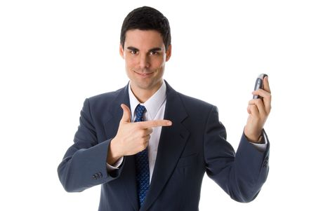 man in blue suit pointing at his cell phone photo