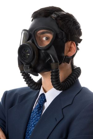 man in blue suit with a gas mask on