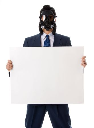 awful: man in blue suit iwth mask holding a sign Stock Photo