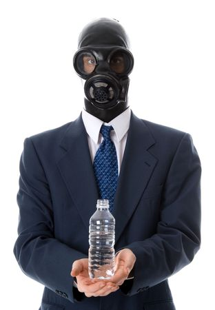 awful: man in blue suit holding a water bottle