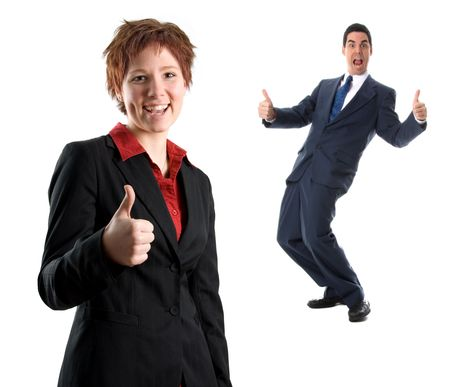 woman in a black jacket with thumbs up Stock Photo - 729427