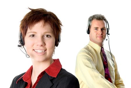 customer service rep with headset and smiling Stock Photo - 729410