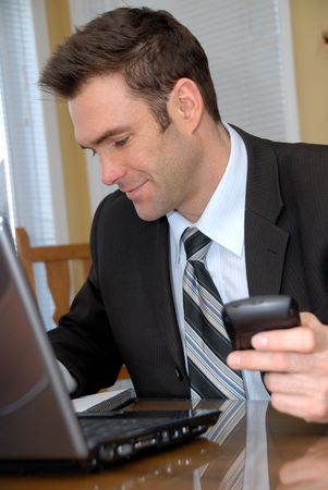 house coats: man working from home Stock Photo