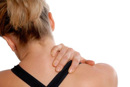 woman in training gear holding her neck in pain Stock Photo - 743061
