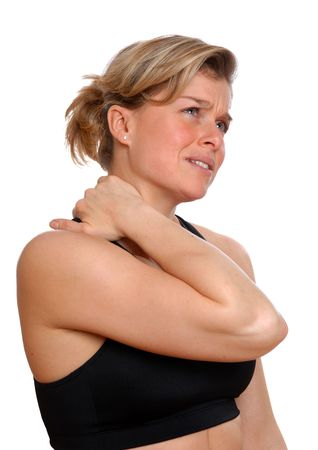 woman in training gear in pain holding her neck Stock Photo - 743062