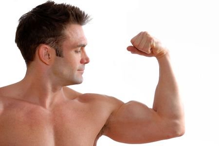 man flexing his biceps to show off his strength Stock Photo - 770881