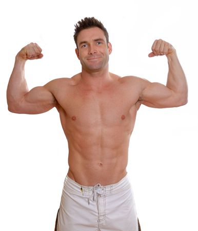 shirless man with big muscles flexing biceps