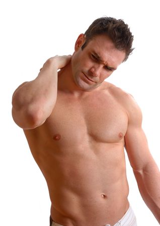 topless man athlete in pain holding his neck Stock Photo - 770862
