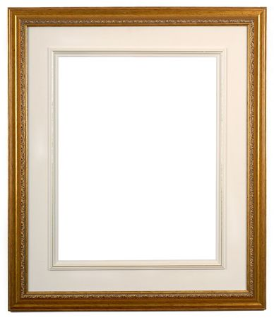 isolated picture frame of wood and gold with matte Stock Photo - 770871