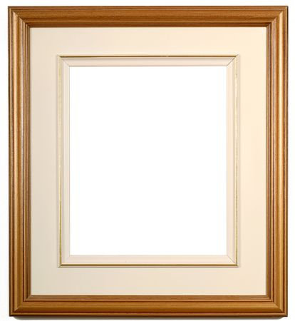 wooden blank picture frame on a white wall