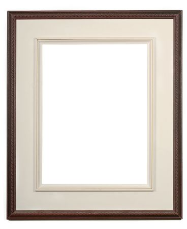 whie: wooden dark picture frame on a whie wall