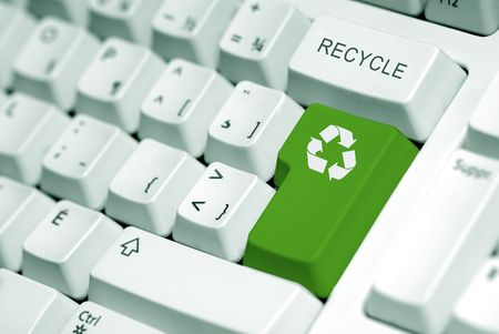 recycle symbol on the computer keyboard in green Stock Photo - 770742