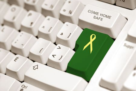 troop: yellow ribbon on green button to sybolized troop support