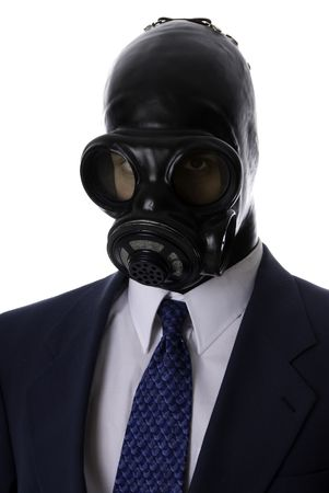 man in a blue suit with a latex mask evil Stock Photo