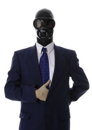 awful: man in a blue suit with a latex mask  leader