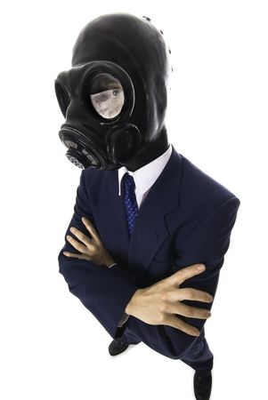 man in a blue suit with a latex mask wide angle Stock Photo