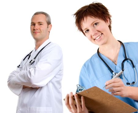 female happy doctor in blue scrubs with notepad Stock Photo
