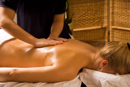 woman at a day spa getting a nice massage Stock Photo - 823058
