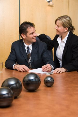 man and woman in a room with a paper pad writing Stock Photo - 848202