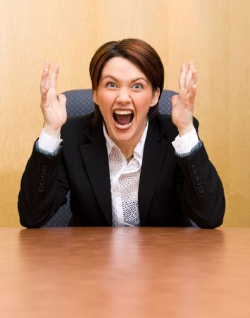 cute woman in the office in panic mode Stock Photo - 910798