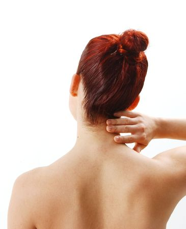 woman from the back showing neck pain Stock Photo - 954785