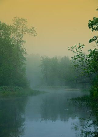 ochtend nevel op mijn rivier in de eerste stralen van licht