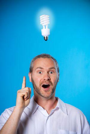 man wih a beard with a light bulb photo