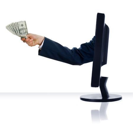 business arm sticking out of a computer monitor Stock Photo - 1391495