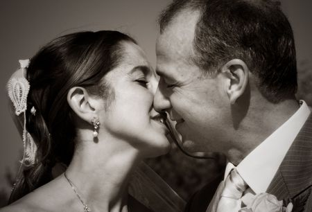 wedding couple kissing in the summer day Stock Photo - 1748445