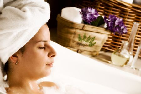 day spa: woman getting aromatherapy in a day spa Stock Photo