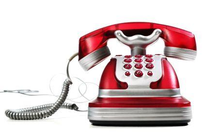 dit is een rode telefoon op een witte achtergrond Stockfoto