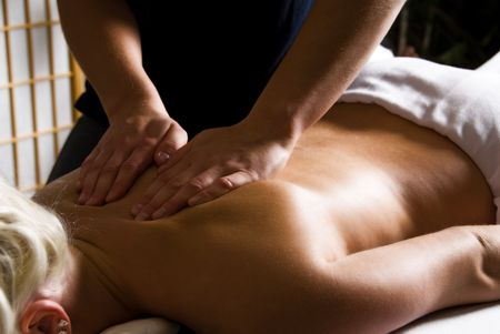 woman getting a good massage at a day spa Stock Photo - 2282518