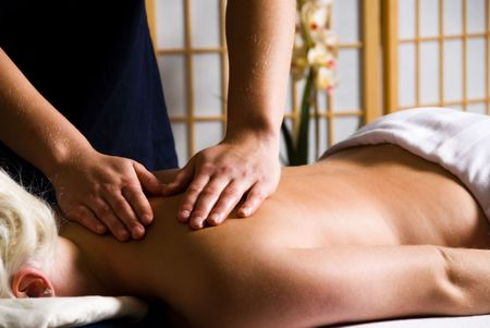 woman getting a good massage at a day spa Stock Photo - 2282519