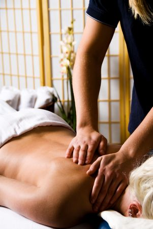 woman getting a good massage at a day spa Stock Photo - 2282520