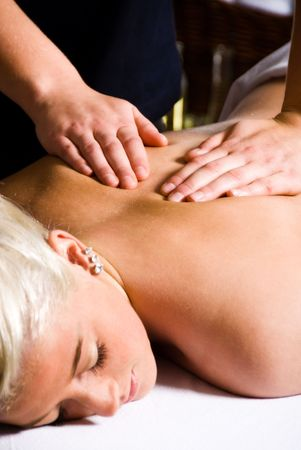 woman getting a good massage at a day spa Stock Photo - 2282498