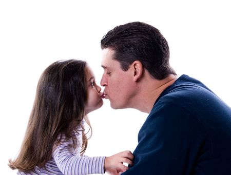 father and daughter love and kiss on white Banco de Imagens