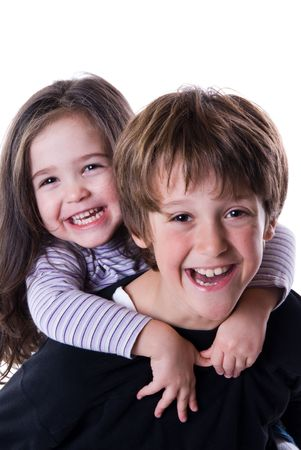 brother: brother and sister ona white background together Stock Photo