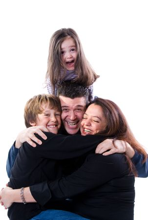 mom and dad with siblings on a white Stock Photo - 2427443