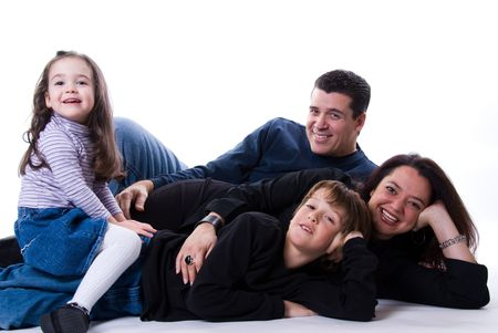 mom and dad with siblings on a white Stock Photo - 2427452