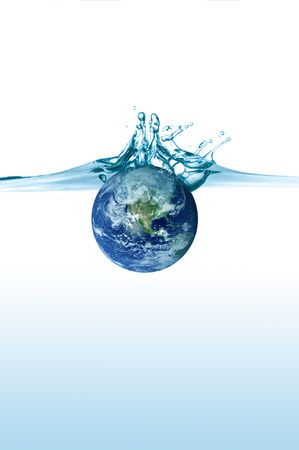 flood water: planet earth falling in some blue water