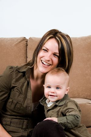 mom happy with their baby boy blue eyes Stock Photo - 2661814