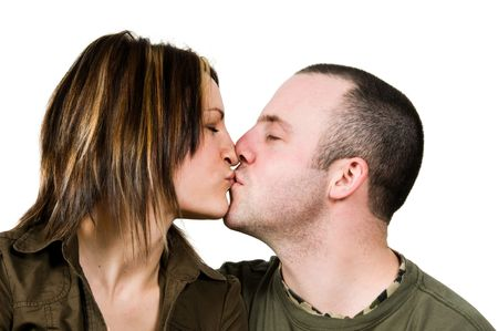 kissing couple in love on isolated white photo