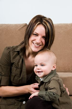 mom happy with their baby boy blue eyes Stock Photo - 2702447