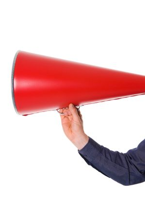 loud: business man holding a red megaphone on emotions