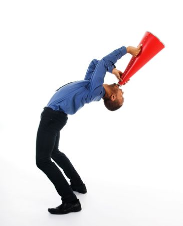 African-american business man yelling in a red megaphone Stock Photo - 2752682