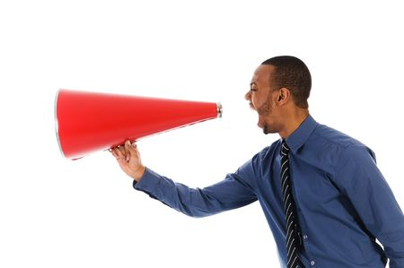 loud: African-american business man yelling in a red megaphone