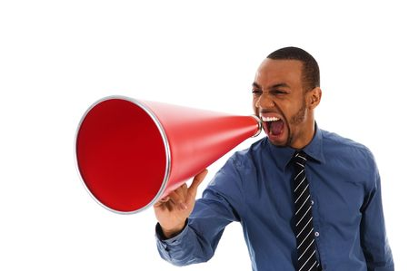 African-american business man yelling in a red megaphone